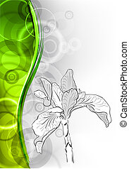 flower with green wave