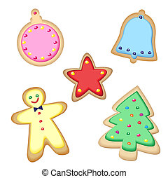 Christmas cookies - Iced Christmas cookies isolated on...