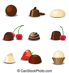 Luxury chocolates - Luxury chocolate assortment EPS10 vector...