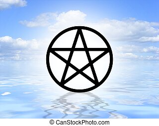 Pagan symbol on water - Illustrated Pagan symbol on an ocean...