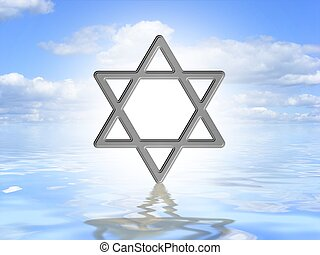 Star of David on water - Illustrated Star of David symbol on...