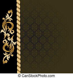 Black background with gold ornaments - beautiful black...