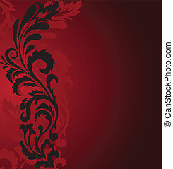 Black ornament on a red - abstract red background with a...