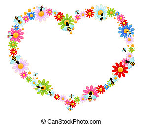 background with funny bees - beautiful bright background...