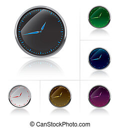 Different colors clock set. Vector illustration on white
