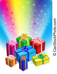 Gift boxes - Vector editable illustration of different magic...