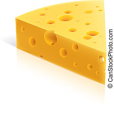 Cheese - Vector illustration of a piece of cheese Isolated...