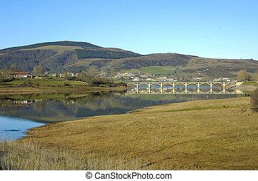 Ebro Reservoir - Ebro reservoir lake in castilla leon spain