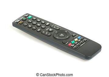 tv remote control - Black tv remote control isolated on...