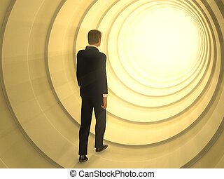 Light tunnel - Man walking in a tunnel toward a bright light...