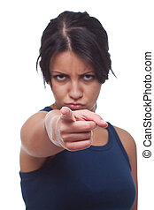 Angry woman pointing at you, isolated on white
