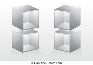 3d isolated Empty bookshelf. Vector