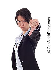 business woman gesturing thumbs down - Young business woman...