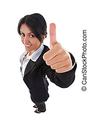 woman giving thumbs up sign - Success woman isolated giving...