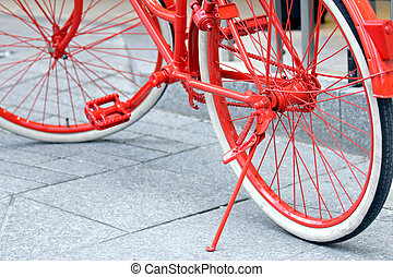 Red bicycle details - Detail of the red painted bicycle...