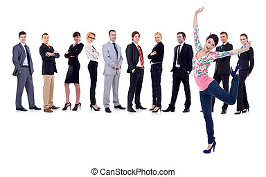 happy woman with a business team behind