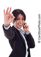 business woman with phone and ok gesture - Happy business...