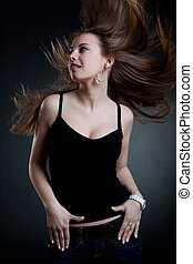beatiful woman with blown hair - Portrait of a beatiful...