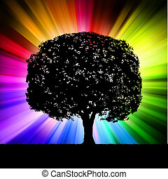 Tree with multicolor burst background. EPS 8