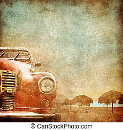 Old Car on the Old Paper Style Photo. Stylization.