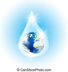 Earth in the drop - Earth in drop of water on a blue...