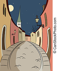 Street in Old Town - Illustration of Old Tallinn in cartoon...