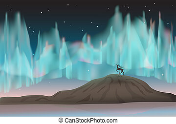Northern lights and deer. - Northern deer stands on the top...