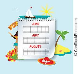 Summer calendar - The calendar of three summer months with...