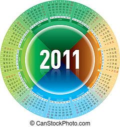Calendar 2011 - Colorful calendar for 2011. rotating design.