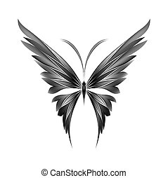 Simply butterfly - Vector black white illustration of icon...