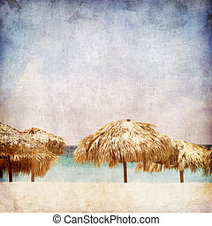 Resort - Caribbean Resort on the Old Paper Style Photo...
