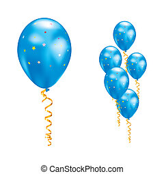 Balloons with stars and ribbons. - Blue balloons with stars...