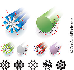 Microfiber - Vector illustration of the structure of...
