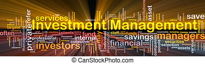 Investment management background concept glowing -...