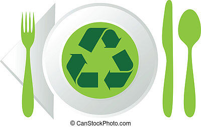 plate with recycling symbol - plate with green recycling...
