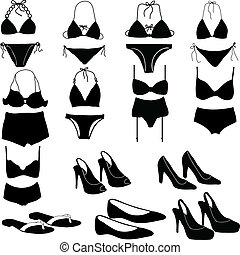 Various womens intimate clothing silhouettes