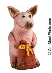 saco,  mone,  handmade:, porca
