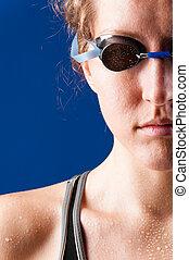 frau, schwimmer