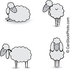 Three abstract gray sheep Illustration on white background