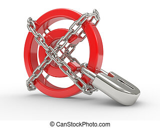 Copyright Protected with chains - red glossy copyright sign...