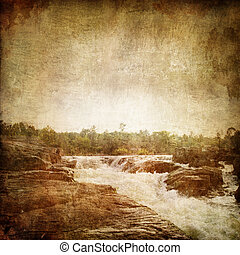 Waterfall on the Old Paper Style Photo. Stylization.