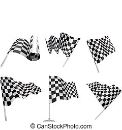 Checkered Flags set illustration on white background