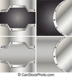 Four metal backgrounds - Abstract backgrounds with round...