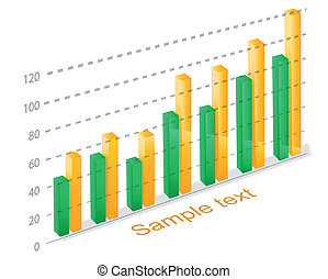 column graph - 3d glossy column graph - comparative...
