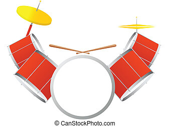 Drum kit - Musical percussion instrument. Drum kit on a...