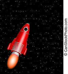 red rocket - red little rocket ship flying in the starry...