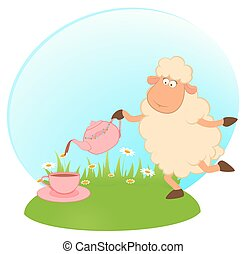 sheep pours tea from a tea-pot - illustration of cartoon...