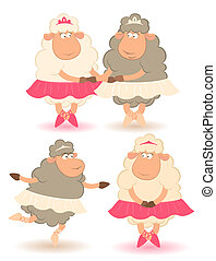 Cartoon funny sheep - ballet dancer.