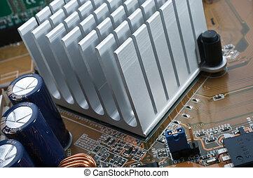Chipset Radiator - Extreme close-up of aluminum radiator...