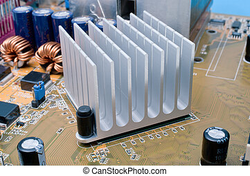 Chipset Radiator - Extreme close-up of aluminum radiator...